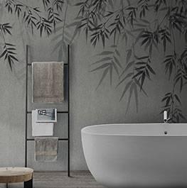 concrete / bamboo leaf